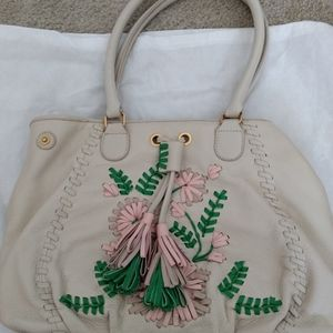 Embroidered leather shopper by Isabella Fiore